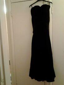 Laura Ashley Black Velvet Strapless Dress Size 14