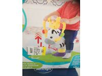 Fisher price bounce and spin zebra brand new in box