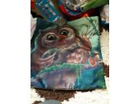 Owl pillow case and necklaces