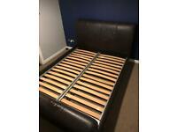 brown / black proper leather bed KINGSIZE