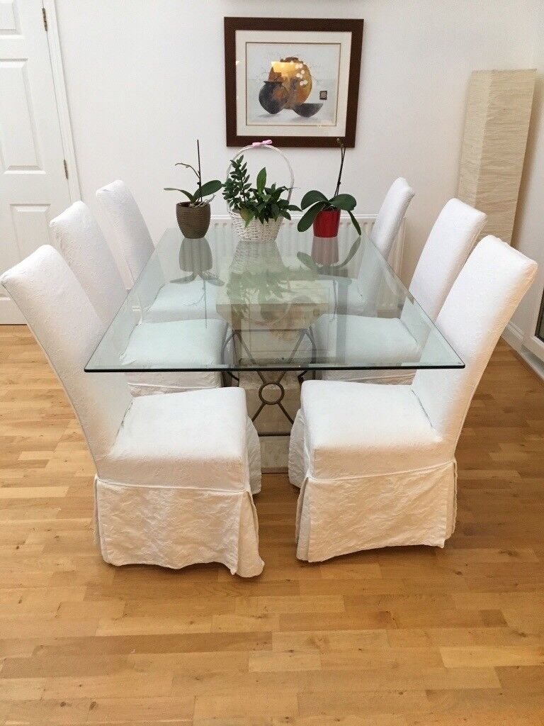 Fenwicks Stone Effect Glass Dining Table And Chairs