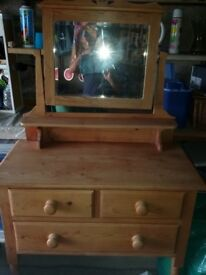 Old Pine 3 Drawer Dressing Table
