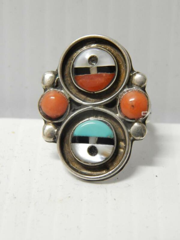 ANTIQUE VINTAGE ZUNI INDIAN STERLING SILVER CORAL TURQUOISE + INLAY RING sz 7.5