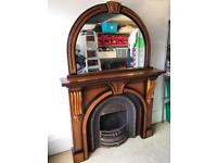 Cast Iron Fire Place and Surround, including beautiful mirror