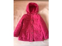 GIRLS PINK QUILTED COAT SIZE 3-4