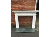Large Fire Surround and Marble Hearth - painted ornate plaster