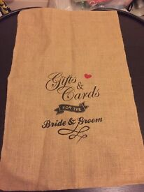 'Gifts and Card for the Bride and Groom' Hessian Sack for sale!