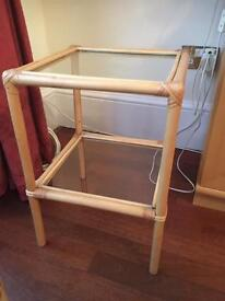Wicker tables, flower pot, coat hooks, magazine stand