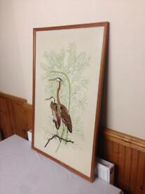 Wild life printed fabric in glass frame