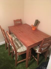 Wooden table & 4 chairs - £50 Collection only