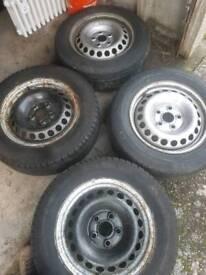 Volkswagen 5 stud Steel wheel/rims with tyres