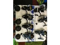 7 michell fishing reels + spare/spools