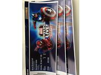 3 marvel universe live premium tickets Manchester 28th January 11am Block A Row B