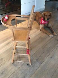 Vintage dolls wooden high chair