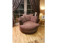 Infinity suite- L shaped sofa, Large swivel chair, Pouffe with storage. BARGAIN