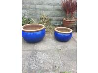 Garden blue glazed pots