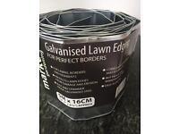 Galvanised lawn edging for garden grass