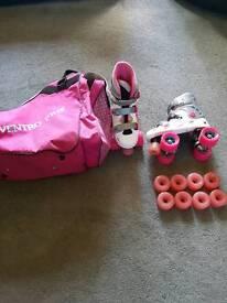 girls skates and bag