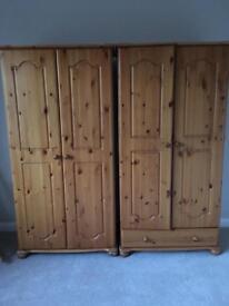 2 pine wardrobes, £50