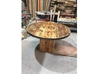 Cable reel inspired garden table