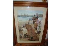Large pine framed picture, Fisherman print by W. Langley