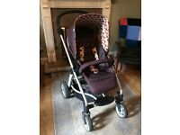 Mamas and papas sola in truffle, with car seat and adapters