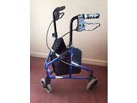 LIGHT WEIGHT 3 WHEEL WALKING AID WITH SHOPPING BAG