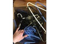 Mixed set of plastic hangers - approx. 20 of each colour (white, black and blue)