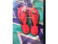 Girls pink comfy summer slippers for sale never worn still on the labels