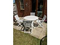 Solid Wood Garden Table and Chairs in White