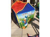 Toddler outdoor bundle, mickey mouse tent, water table, mickey mouse ride on car,