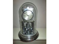 CHROME 400 DAY TORSION ANNIVERSARY CLOCK. GLASS DOME. WORKING ORDER. NO KEY