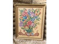 Antique hand embroidered floral picture
