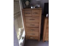 Tall solid Oak Chester drawers