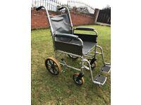 Wheelchair. Steel. Used. Fold Up. Footplates