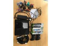 XBOX 360, 12 GAMES, 2 WIRELESS CONTROLLERS, TURTLE BEACH HEADSET, 13 DISNEY INF CHARACTERS