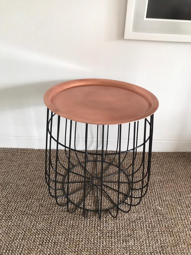 Reduced Side Table Wire Base With Detachable Copper Top
