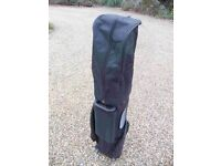 Large, black, wheeled PING Golf Pull Handle Trolley Bag with Cover Hood