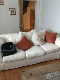 3 seater, 2 seater, chair & footstool in cream