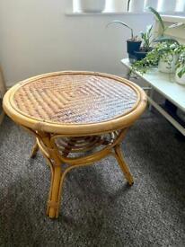 Boho Tiki Retro Bamboo Cane coffee side Table 60cm
