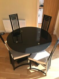 Cassabella Black Glass Table and Four High Backed Chairs - Used