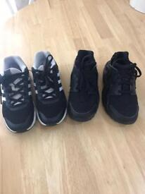 Boys Adidas and Nike trainers size 1