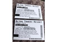 Alton towers tickets 13/9/18