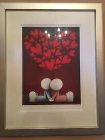 Doug Hyde Hearts & Smiles signed print framed. Collectible.