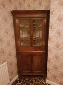 vintage corner cupboard dark wood