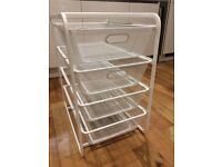 4 white mesh baskets for storage