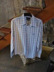 Mens Henrey Lloyd Designer check cotton shirt long sleeves size size Large casual fit