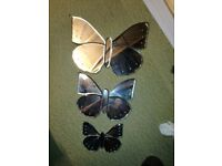 Set of three butterfly mirrors