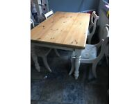 Farmhouse shabby chic table and chairs