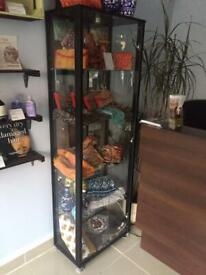 Retail display cabinet to sale. Wooden mirror and troley also available